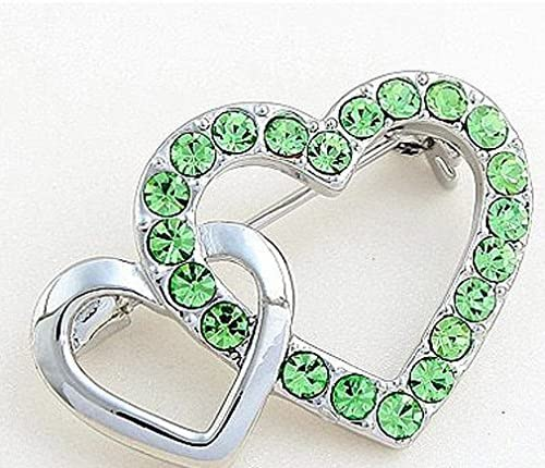 Fashion Jewelry Noble Swarovski Elements Crystal Olive Double Heart Brooch Pin White Gold Plated
