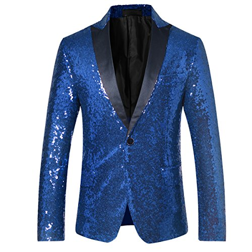 (Cloudstyle Men's Sequins Blazer Slim Fit Sport Coat Jacket Party Wedding Sports Coat, Blue,)
