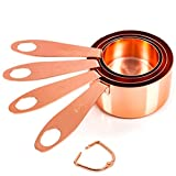 Copper Measuring Cups, Set of 4: EXTRA STURDY Copper-Plated Top-Quality Stainless Steel. Satin and Mirror Polish. Engraved in US and Metric System. Stackable. Copper Finish/Rose Gold. By COPPER GEMZ