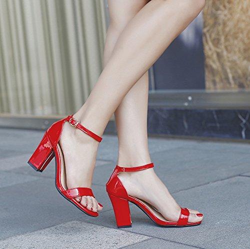 Aisun Sandale Brautschuhe Blockabsatz mit Offene Damen Rot Zehen Basic Fesselriemchen Schnalle qaB4qSx