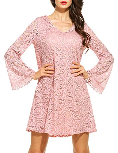 Zeagoo Women's V Neck Flare Sleeve Crochet Lace A-Line Cocktail Party Dress (X-Large, Pink) (Womens Cocktail Dress Pink)