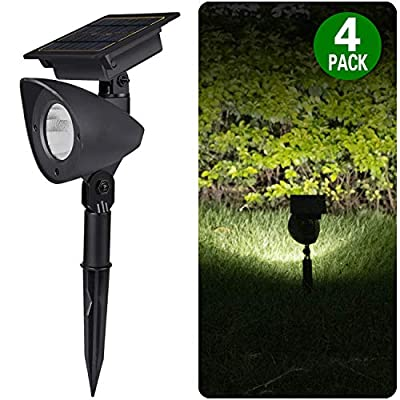 Brightown 30 Lumens Solar Landscape Spotlights, 4 Pack Integrated Waterproof Wireless Auto On/Off for Path Yard Garden Driveway Porch Walkway Pool Patio, Natural White