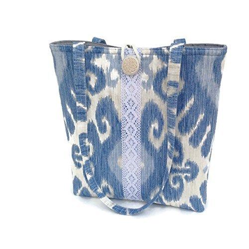 Womens Blue Handbag with Ikat Print, Lace Shoulder bag, Large totebag