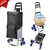 2018 Latest Folding Shopping Cart Stair Climbing Cart with Quiet Rubber Tri-Wheels Grocery