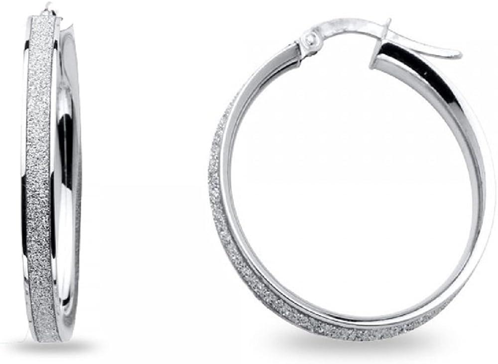 "4mm X 25mm 1/"" Plain Round Hoop Earrings Real Solid 925 Sterling Silver"