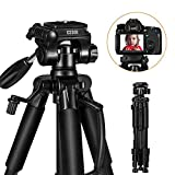 ESDDI TP-30 Portable Camera Tripod 55'' /140cm for Smart Phone and Camera DSLR Canon Nikon Sony Samsung Olympus with Carrying Bag Maximum Load Capacity 11Lbs/5Kg