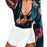 YJYDADA Women Ladies Floral Print Tuxedo Wrap Over Satin Bodysuit Jumpsuit (Green, S)