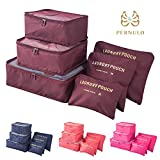 traveling dirty clothes bag - Pack of 6 Packing Cubes-Compression Travel Luggage Organizer-Clothe Storage Bag-Travel pouch -Laundry Bag (Red Wine)