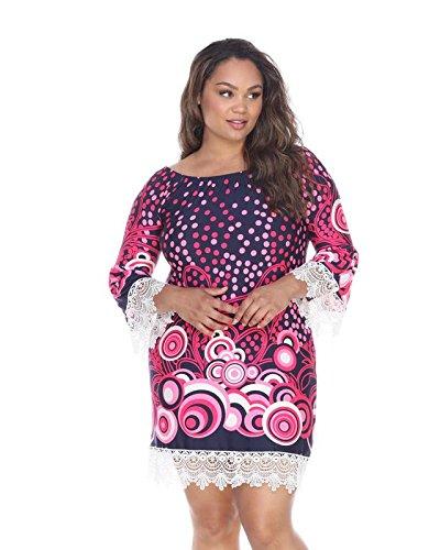 White Mark Lenora Lace Hem Geometric Circles Print Dress in Navy & Pink - ()