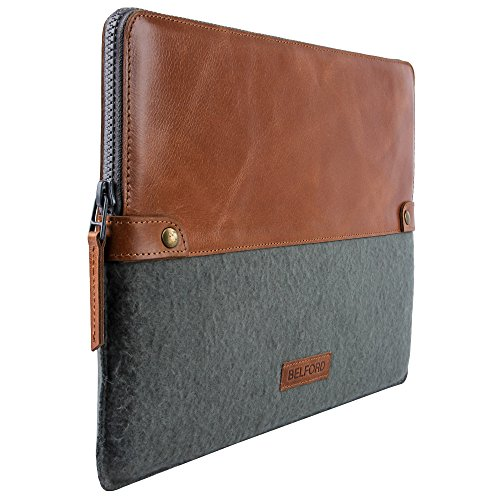 Handmade Genuine Leather and Felt Padded Macbook Sleeve 13 inch Macbook Pro 2016 2017 Models with and without touchbar - BELFORD