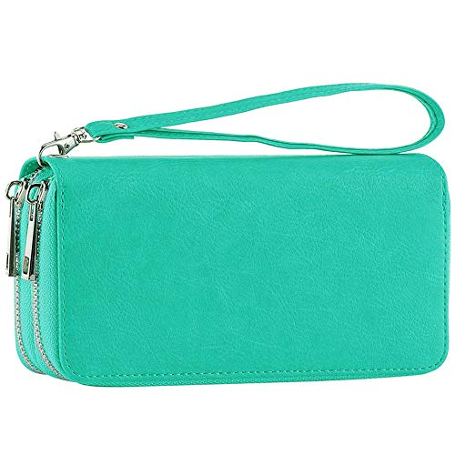 Womens Double Zipper Around Long Clutch Wallet Credit Card Holder Purse with Coin Pocket for Cash, Coin, and 5.5 inch ()