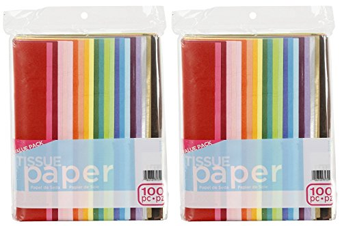 ArtVerse 100-Piece Tissue Paper, 20″ x 26″, Assorted Colors (Pack of 2)