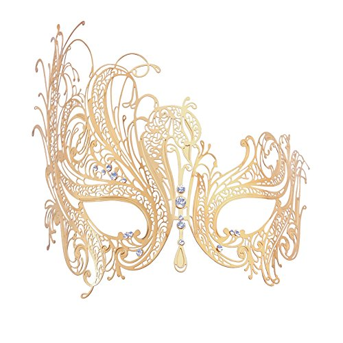 [Xvevina Luxury Gold Metal Mask for Masquerade Ball (gold metal clear stones)] (Rhinestone Masquerade Mask)