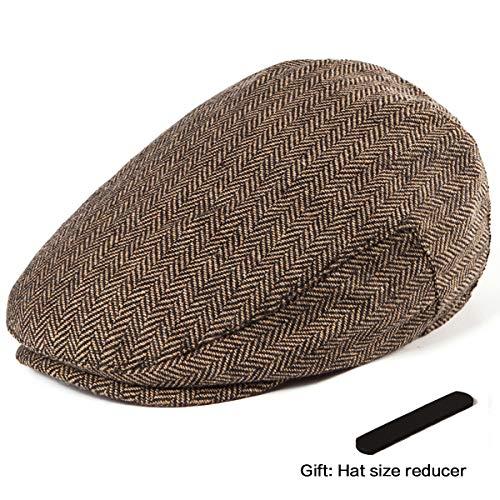 LADYBRO Herringbone Irish Hat Cap Men - Brown Wool Tweed Ivy Hat Flat Cap Retro Hat