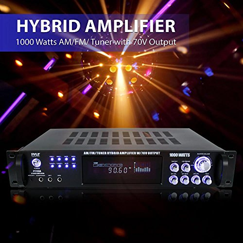 Pyle 4 Channel Home Audio Power Amplifier w/ 70V Output - 1000 Watt Rack  Mount Stereo Receiver w/ AM FM Tuner, Headphone, Microphone Input for