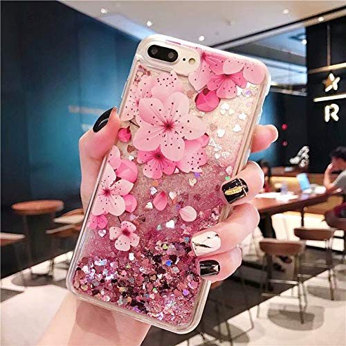 iPhone 7 Case, iPhone 8 Case, Ebetterr Flower Glitter Sparkle Bling Liquid Case for Girls Women, Creative Flowing Liquid Floating Soft TPU Bumper Hard Clear Case Phone Cover for iPhone 7 / iPhone 8 -
