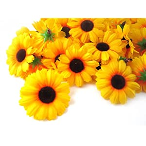 "(100) Silk Yellow Sunflower Gerbera Daisy Flower Heads , Gerber Daisies - 1.75"" - Artificial Flowers Heads Fabric Floral Supplies Wholesale Lot for Wedding Flowers Accessories Make Bridal Hair Clips Headbands Dress 2"