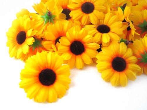 (100) Silk Yellow Sunflower Gerbera Daisy Flower Heads , Gerber Daisies – 1.75″ – Artificial Flowers Heads Fabric Floral Supplies Wholesale Lot for Wedding Flowers Accessories Make Bridal Hair Clips Headbands Dress