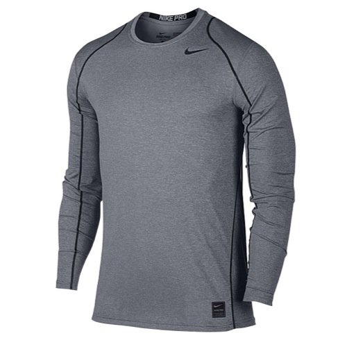 (Nike Men's Pro Cool Top (Carbon Heather/Black, Small))