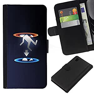 KLONGSHOP // Tirón de la caja Cartera de cuero con ranuras para tarjetas - Portal gota - Sony Xperia Z1 L39 //