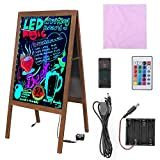 LUVODI LED Message Writing Board, 39.4'' x 20.5'' Double Sided Illuminated Erasable Neon Effect Glass Surface Restaurant Menu Sign with Stand Kid DIY Painting Chalkboard 4 Flashing Mode for Bar, Kitchen