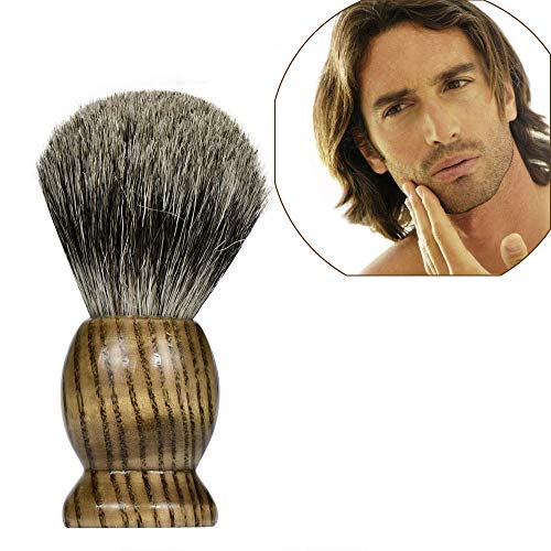 Hennta Men's Shaving Brush, Pure Best Badger Hair Barber Grade with Black Heavy Duty All-Resin Wood Handle, Oversized Bristle Head For Better Shaving Cream Lather (Brown)