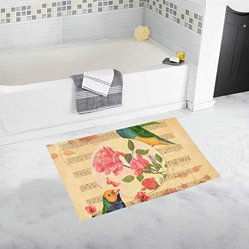 Victorian Style Collage Postcard Drawings Custom Non-Slip Bath Mat Rug Bath Doormat Floor Rug for Bathroom 20 X 32 Inch