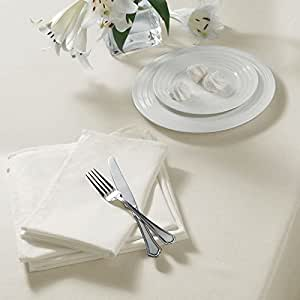 "PLAIN WOVEN CREAM SQUARE TABLECLOTH 90"" X 90"" (229CM X 229CM)"