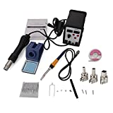 2 in 1 Soldering Station and Hot Air Gun Digital Display Adjustable Soldering Station with 11pcs Solder Tips & 1pc Solder Wick & 1pc IC Extractor US Plug Black