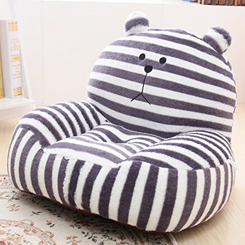 Kids Mini Lounger Sofa,Bean Bag Chair,Novelty Gift Grey Stripe Bear PP Cotton Cute Cartoon Washable 21