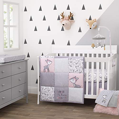 (Little Love By Nojo Sweet Deer, Grey, Pink, White 3Piece Nursery Crib Bedding Set With Comforter, Fitted Crib Sheet, Dust Ruffle, Pink, Grey, White, Charcoal)