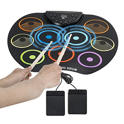 Youqian Portable 9 Pad Electronic Roll up Drum Pad Kit Silicon Foldable Electronic Musical Instrument Kit with Stick Colorful Flexible Electronic Roll Up MIDI Drum Kit Electric Drum Pads