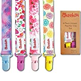 Baby Pacifier Clip Girl by Akeekah | 4 Pack | Luxury Eco-Friendly Gift Box | Soothie Pacifier Holder & Binky Clip with Awesome Colorful Designs | Safe BPA Free & Washable Plastic Paci Clips | Easy Use