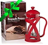 Cheap French Coffee Press and Loose Leaf Tea Brewer, Red (8 Cup, 34 oz) with Heat-Resistant Glass, includes 2 Stainless Steel Filters and Spoon