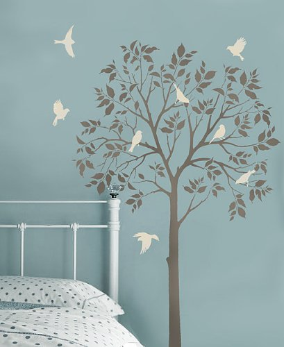 Large Tree and Birds Stencils - Reusable Stencils for DIY Decor - Better than Decals by Cutting Edge Stencils
