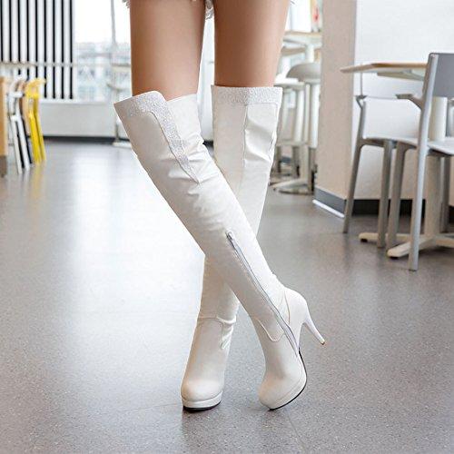 Haut Genoux Eclair Pour Femmes Blanc Fourrure Fermeture L'hiver Avec Sexy Aiguille Uh Talons À Bottines Bout Chaussures Rond Chaud xpzwfCCIqH