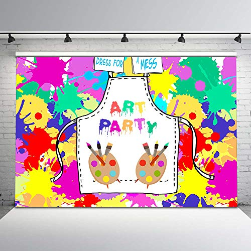 Mehofoto Paint Party Backdrop Graffiti Art Wall Photo Background 7x5ft Mess Paint Birthday Party Backdrops for Children Kids