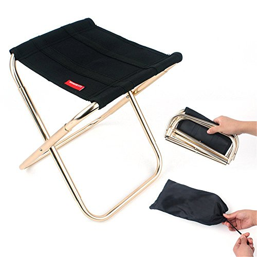 Donsane Mini Portable Folding Stool Outdoor Fishing Chair with Storage Bag for Backpack Hiking,L -