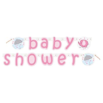 5.24ft Pink Elephant Girl Baby Shower Banner