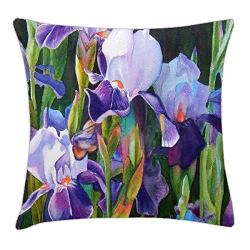 (HFYZT Iris Flower Garden Pillow Cover Standard Throw Pillowcase 18X18 Inch)