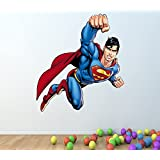 SUPERMAN FULL COLOUR WALL STICKER - GIRLS BOYS BEDROOM C286 Size: Large