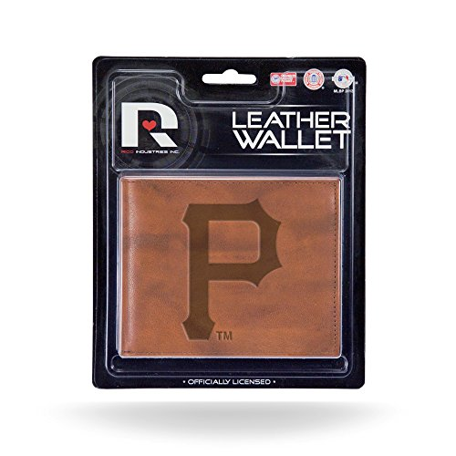 Pittsburgh Pirates MM Wallet Brown LEATHER Embossed Bifold Billfold - Pirates Pittsburgh Embossed Leather