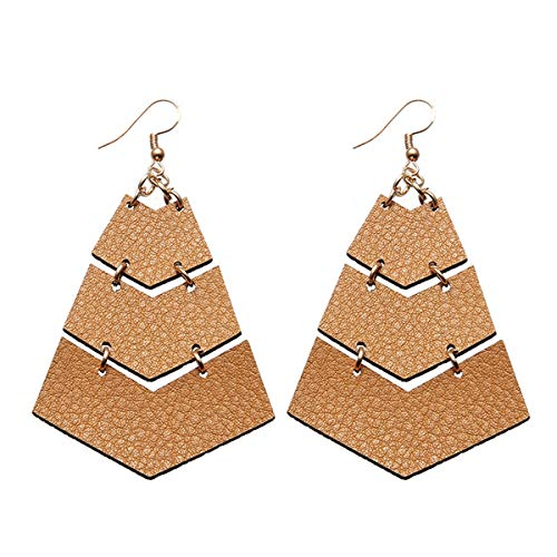 (Layered Leather Earrings Handcrafted Unique Geometric Jewelry for Women (triangle-Brown))