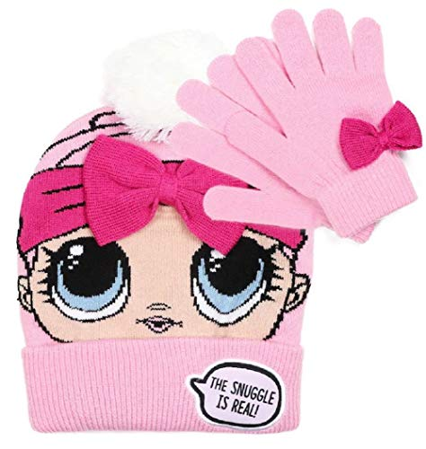 04afe31f446 FAB Girls Winter Knitted Beanie Surprise Doll Hat with Gloves Diva Glamour  Glitz 2pc LOL