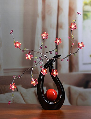 Lightshare 24Inch 10LED Blue Flower Branch Light for Home Decoration,Battery Powered, Silver Branch