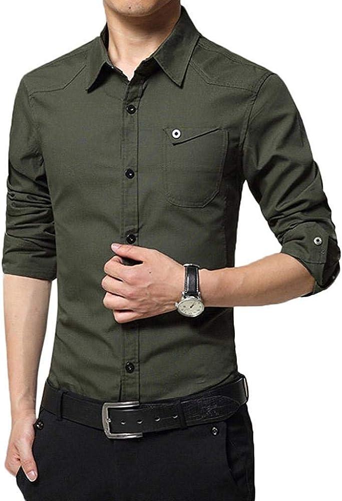 Camisa De Negocios para para Slim Hombres Fit Negocios Mode De Marca Boda Correa De Ocio Camisa Ligera De Colores Sin Hierro Camisa De Manga Larga para Hombres para Hombres: Amazon.es: Ropa