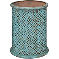 Drum Table in Turquoise Finish
