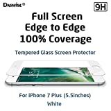 iPhone 7 Plus Screen Protector, Daswise 2016 Full Screen Anti-scratch Tempered Glass Protectors with Curved Edge, Cover Edge-to-Edge, Screens from Drops, HD Clear, Bubble-free, Shockproof (5.5 White)