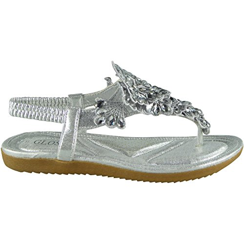 3 Shoes Loud Look Ladies Size Flat 8 Peeptoe Comfy Silver Sandals Womens Strap Summer Bling Elastic PHPOxS