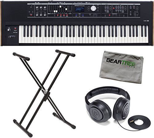 Roland VR-730 V-Combo 73-Key Waterfall Action Keyboard Bundle w/Headphones, Stand, and Cloth